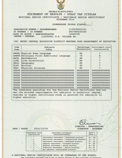 Matric Certificate 2014
